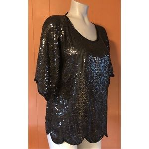Royal Feelings Vintage Black Sequin Silk Top